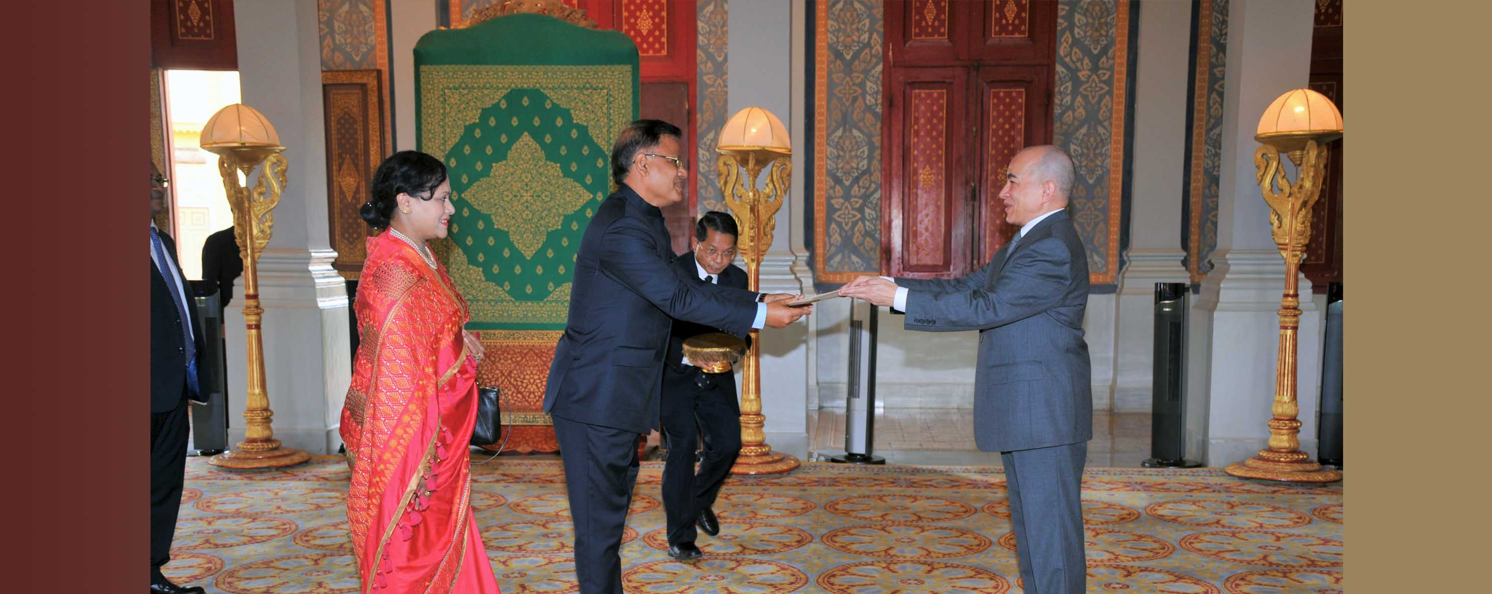H.E. Md. Nazmul Quaunine, Bangladesh Ambassador to Thailand & Cambodia presenting credential to His Majesty King of Cambodia Norodom Sihamoni